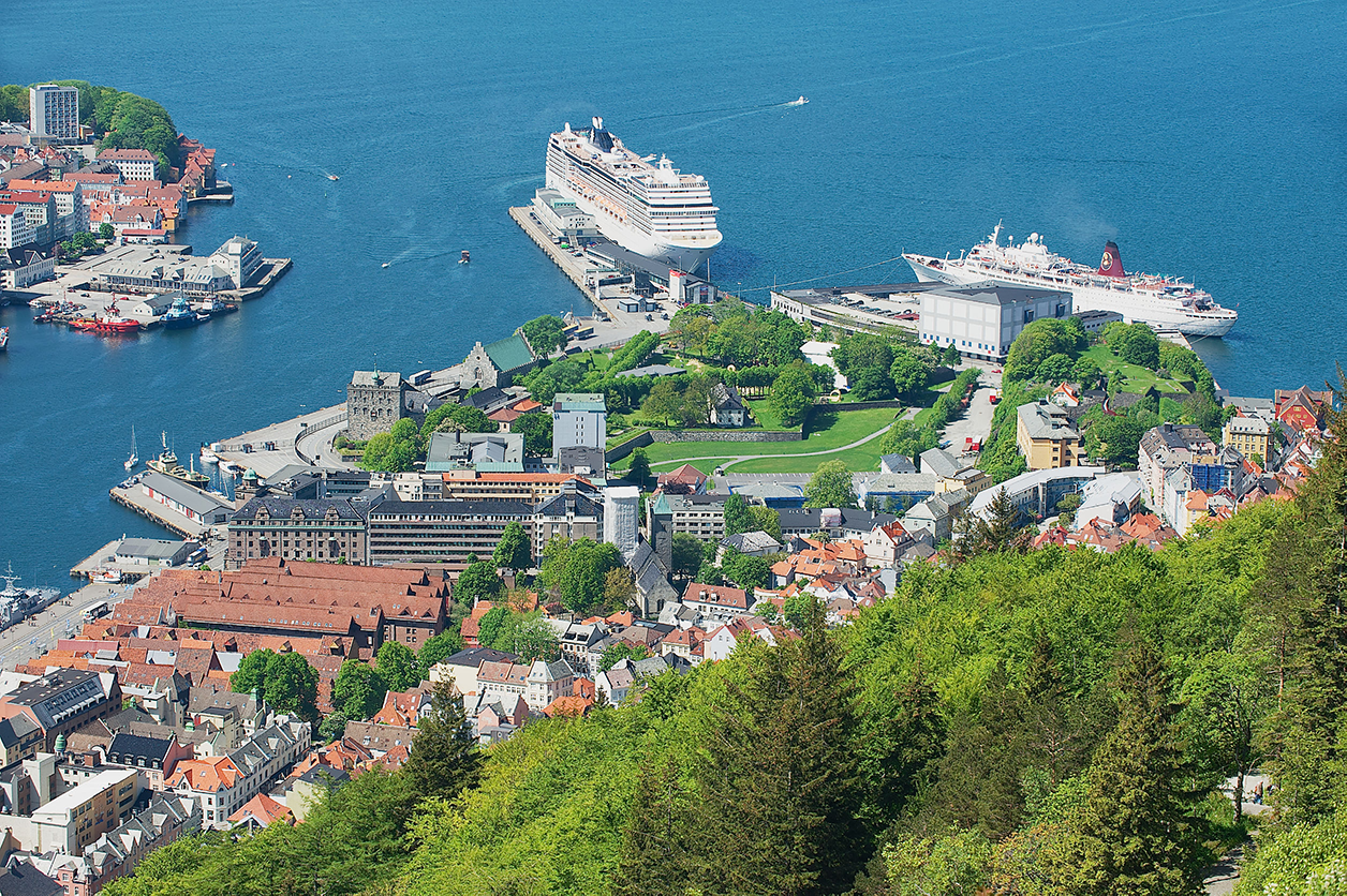Bergen harbor - Norway - with cruise ships. Photo taken from Floyen Hill